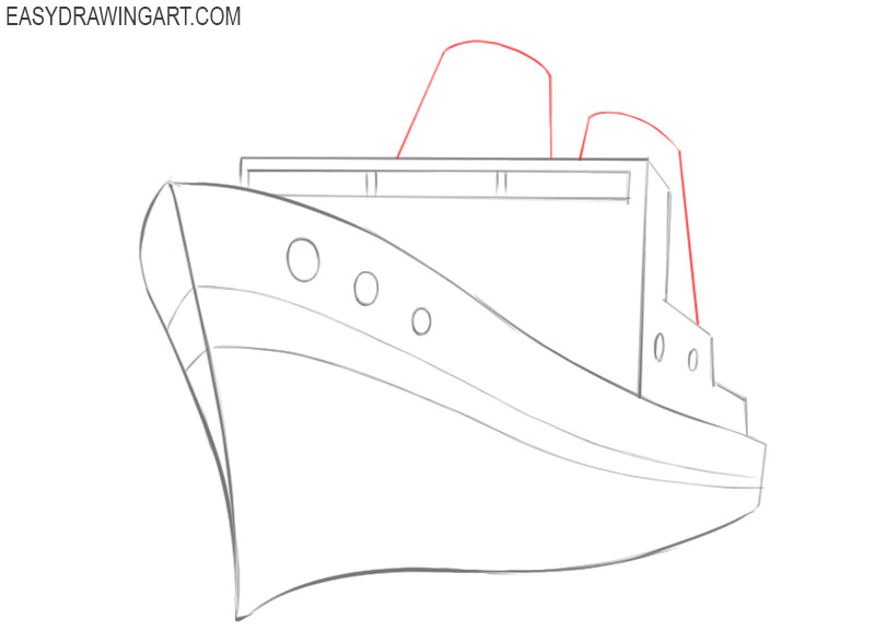 how to draw a ship images