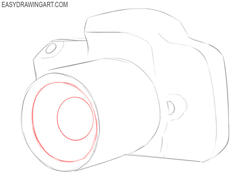 how to draw a simple camera step by step