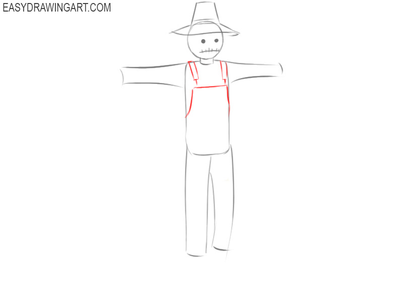 how to draw a simple scarecrow