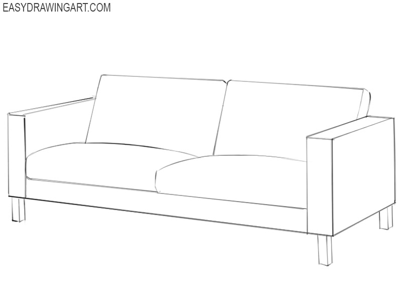 how to draw a small couch