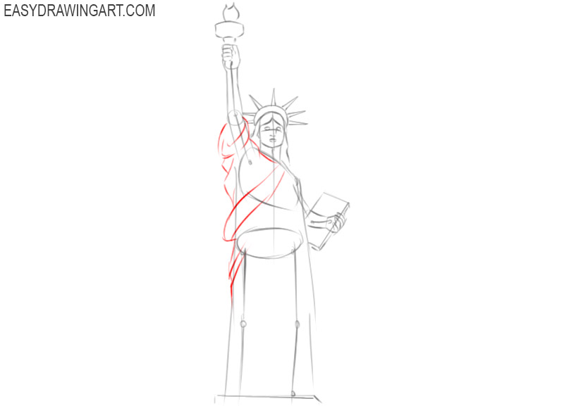 how to draw a statue of liberty step by step