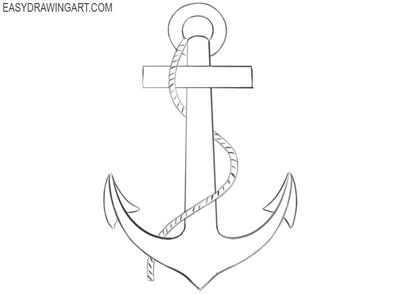 how to draw a traditional anchor
