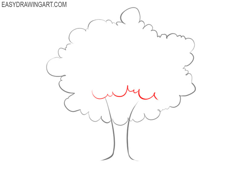 how to draw a tree trunk step by step