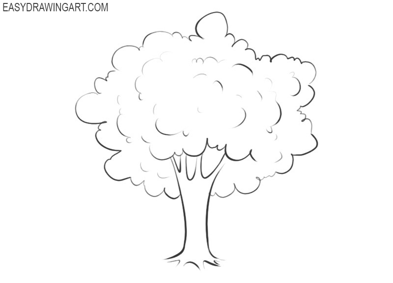 how to draw a tree easy way