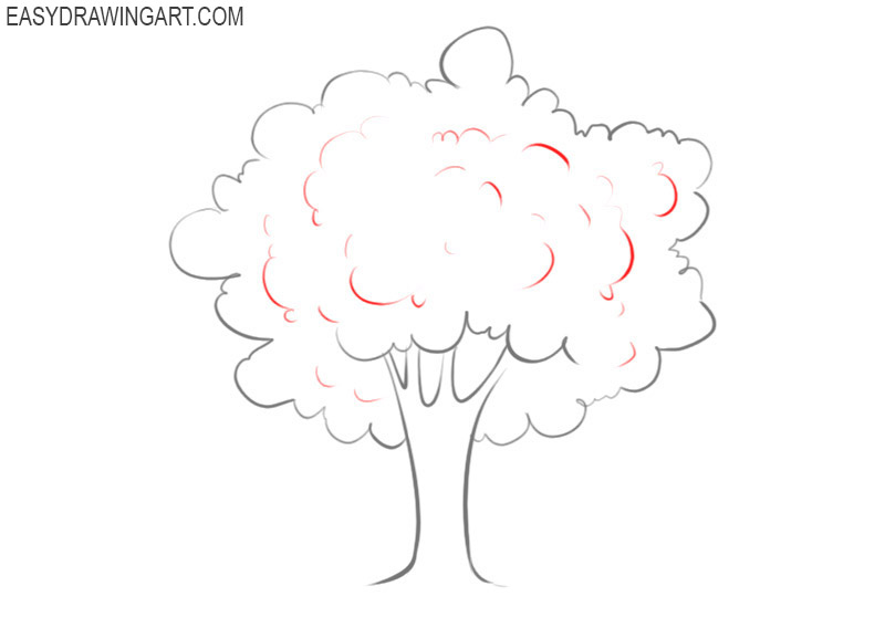 how to draw a tree with leaves step by step
