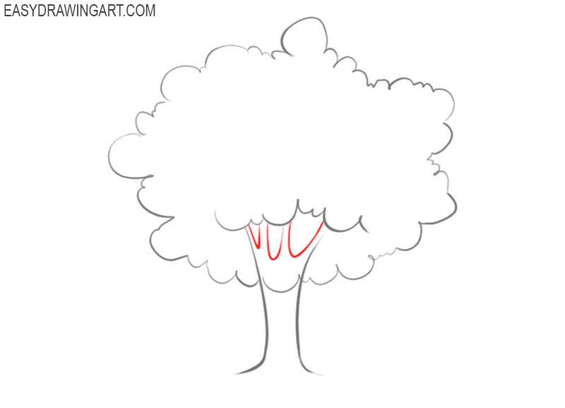 how to draw a tree with leaves