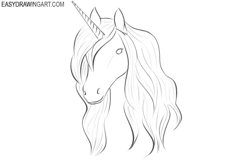 how to draw a unicorn head easy step by step