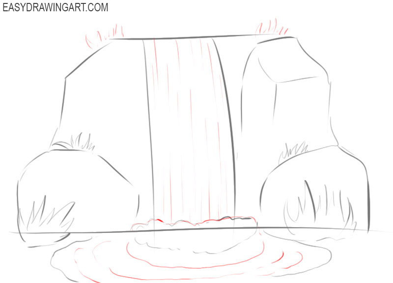 how to draw a waterfall easy step by step