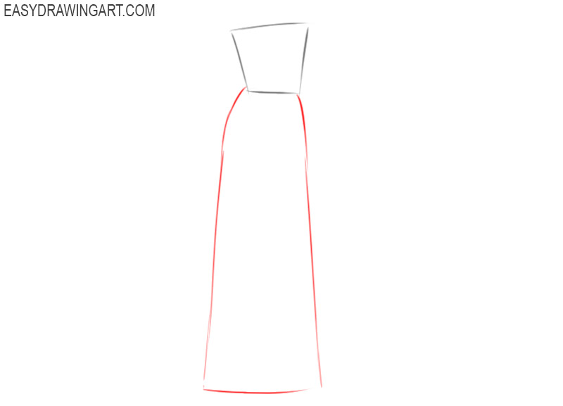 how to draw a wedding dress step by step