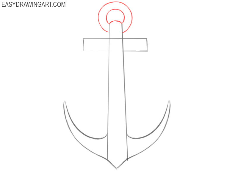 how to draw an anchor step by step