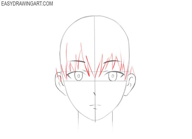 how to draw an anime face male