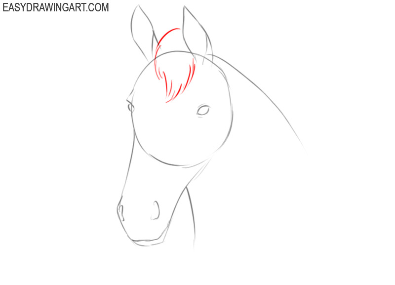 how to draw an easy horse head