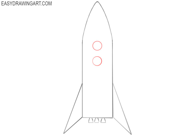 how to draw an easy rocket