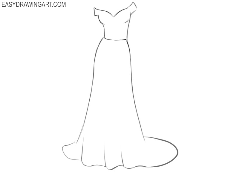 how to draw an easy wedding dress