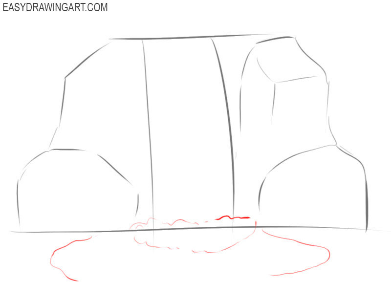 how to draw and colour a waterfall