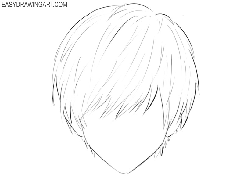 how to draw anime boy hair easy