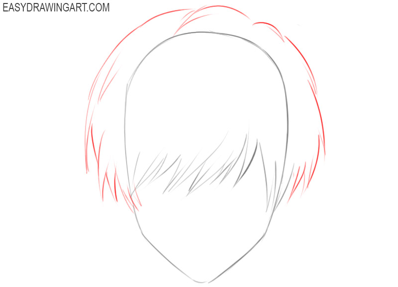 how to draw anime hair front view