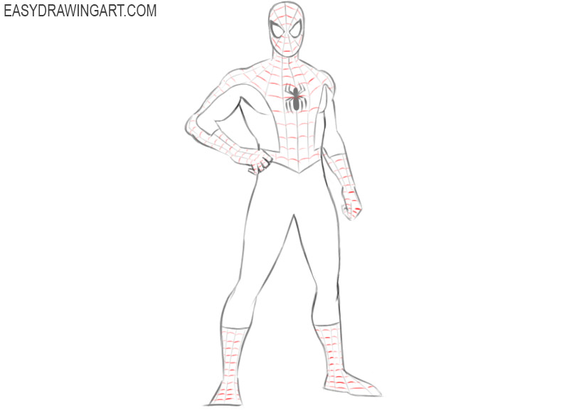 how to draw spiderman easily