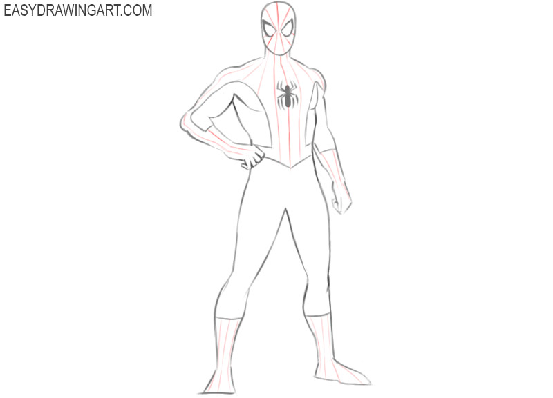 how to draw spiderman easy steps