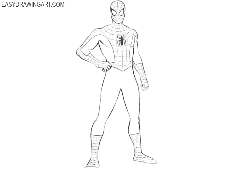 how to draw spiderman easy way