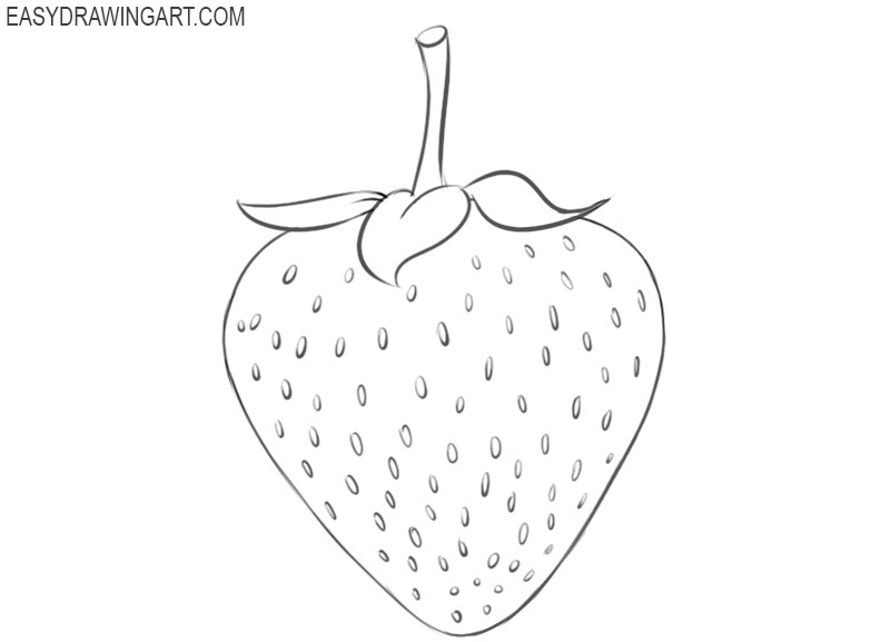 how to draw strawberries step by step