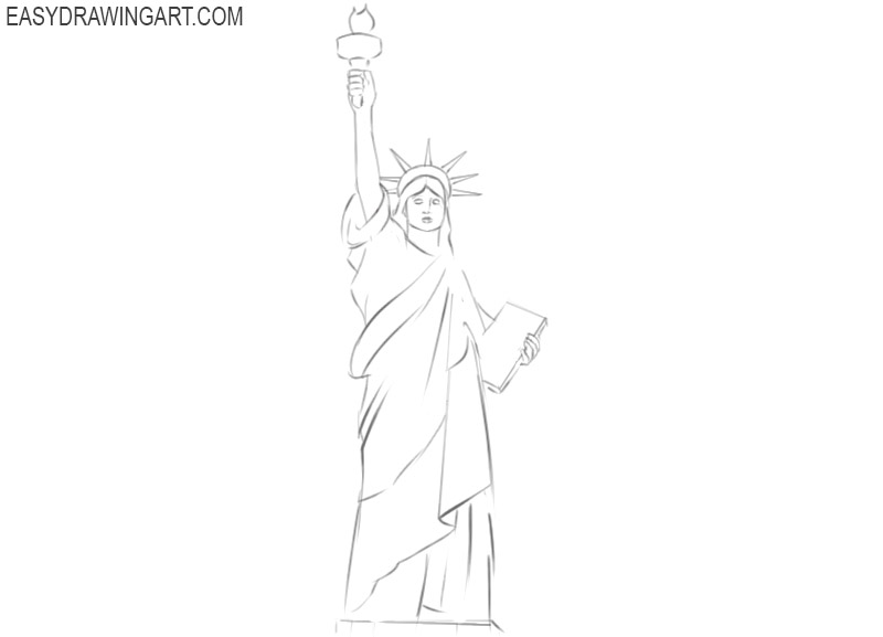 how to draw the statue of liberty cartoon
