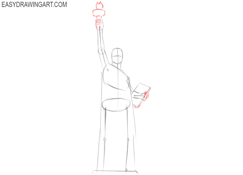 how to draw the statue of liberty simple