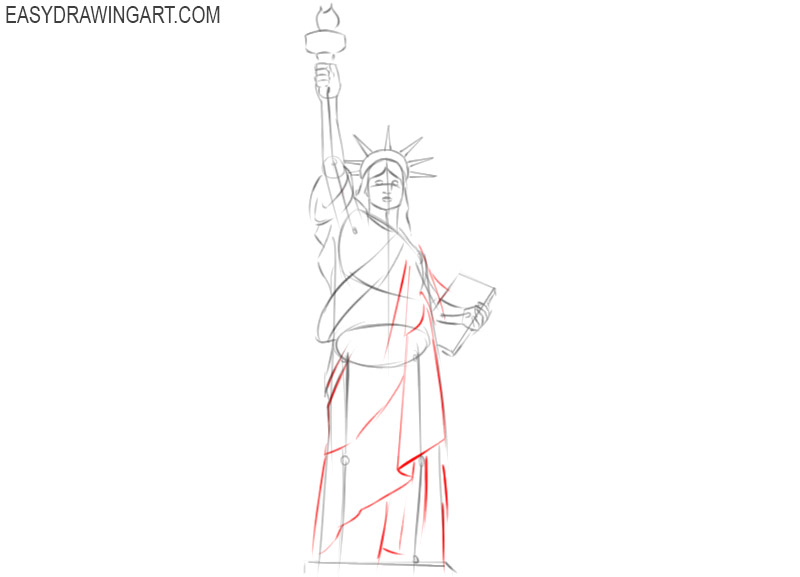 how to draw the statue of liberty step by step easy
