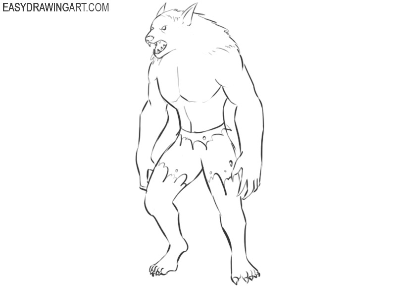 how to draw werewolves step by step