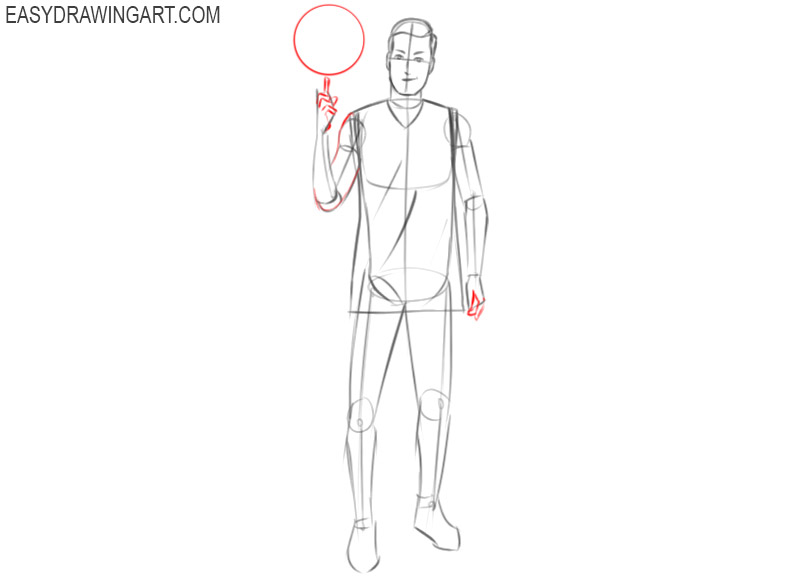 how to easily draw a basketball player