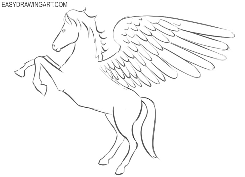 how to easily draw a pegasus