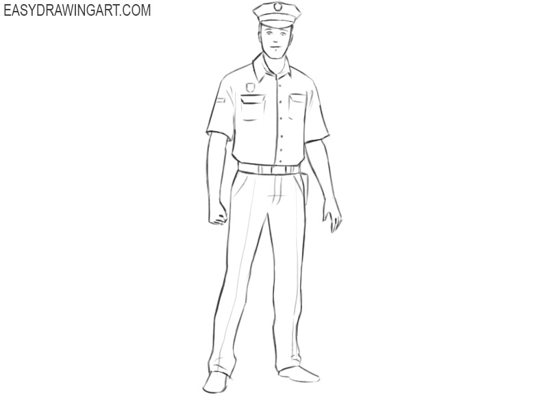 police officer drawing easy