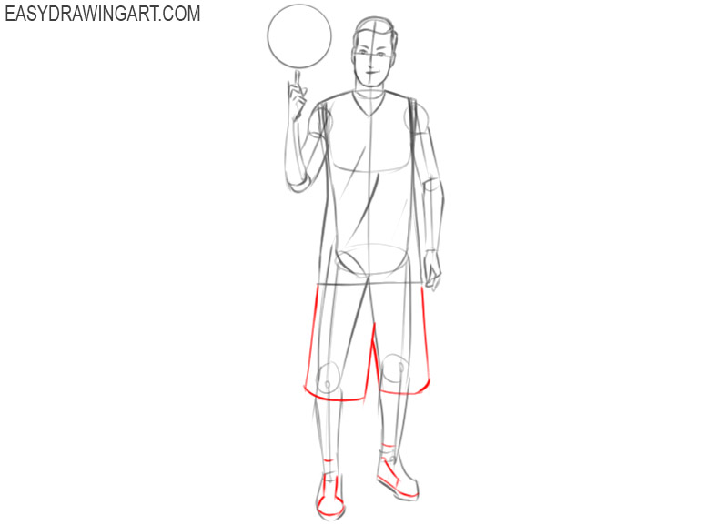 steps on how to draw basketball player