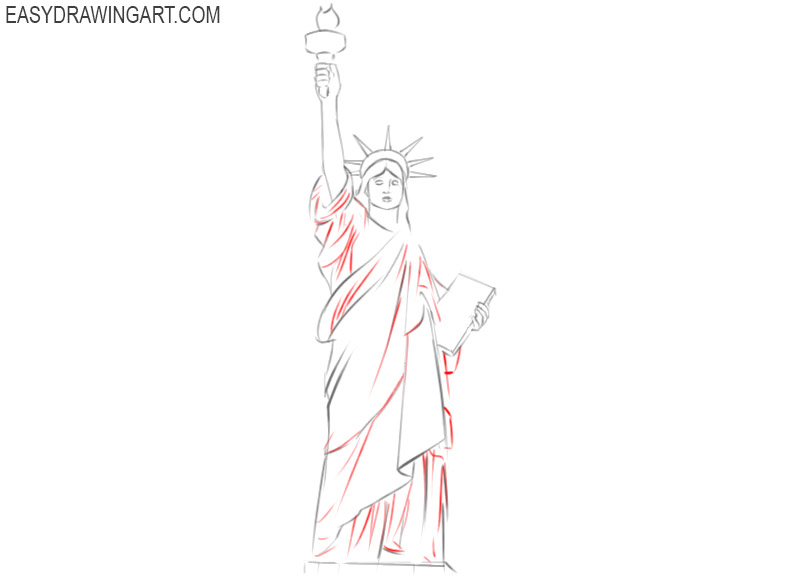 steps on how to draw the statue of liberty