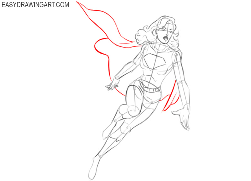 supergirl drawing step by step