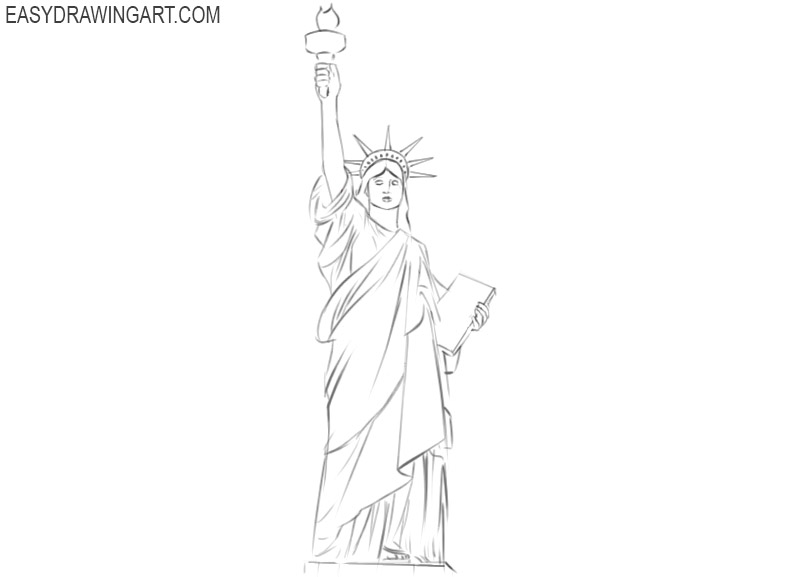 the statue of liberty drawing step by step