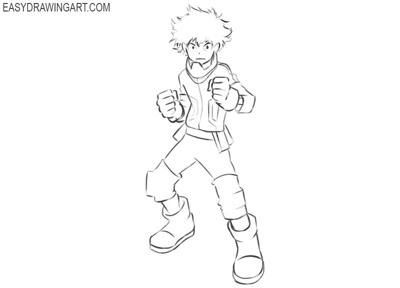 How to draw Deku easy
