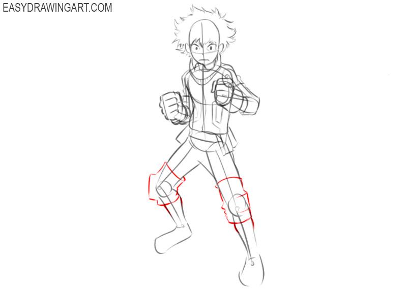 How to draw Deku for beginners