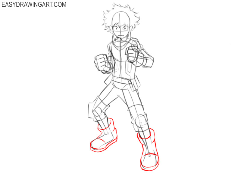 How to draw Deku step by step