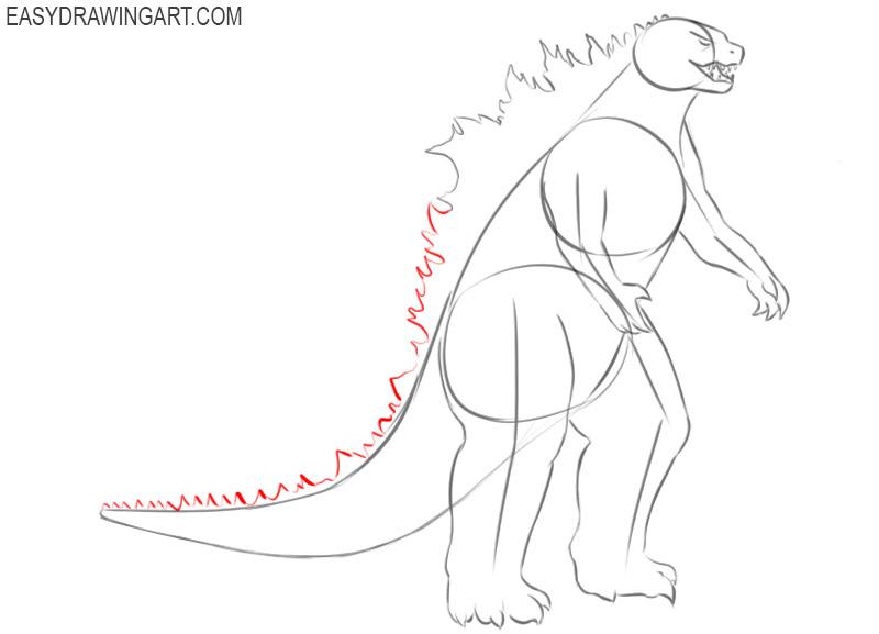 How to draw Godzilla easy