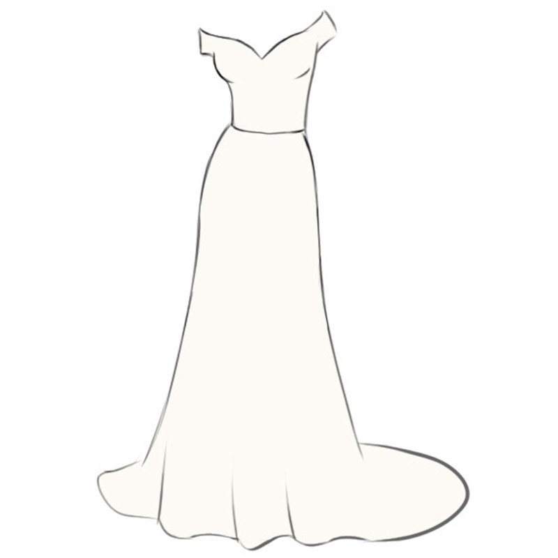 How To Draw A Wedding Dress Easy Drawing Art