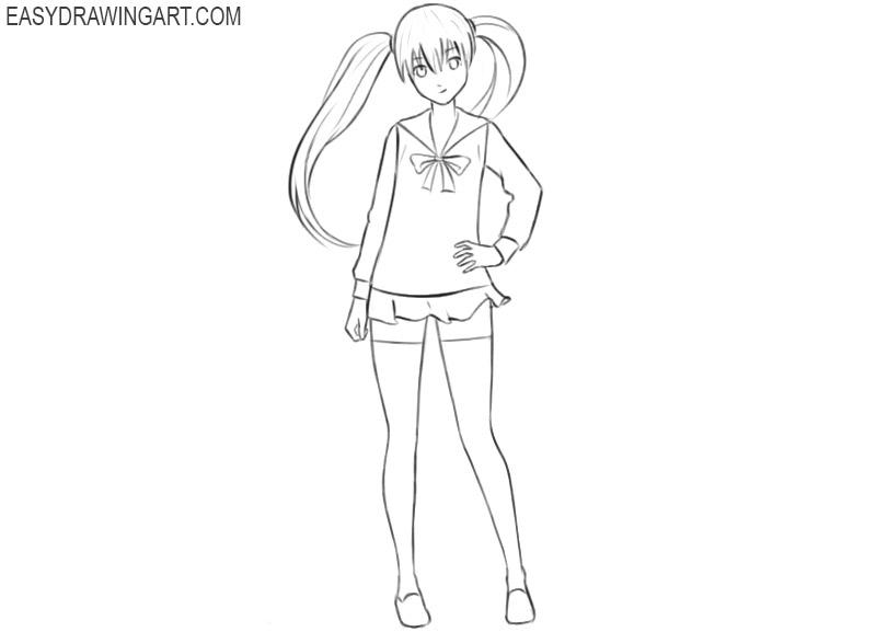 anime girl drawing hair