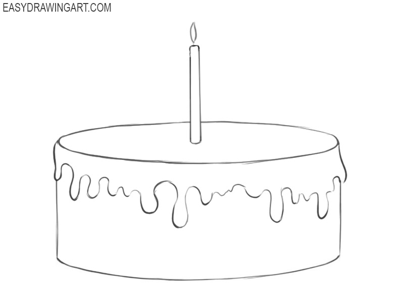 how to draw a birthday cake and colour