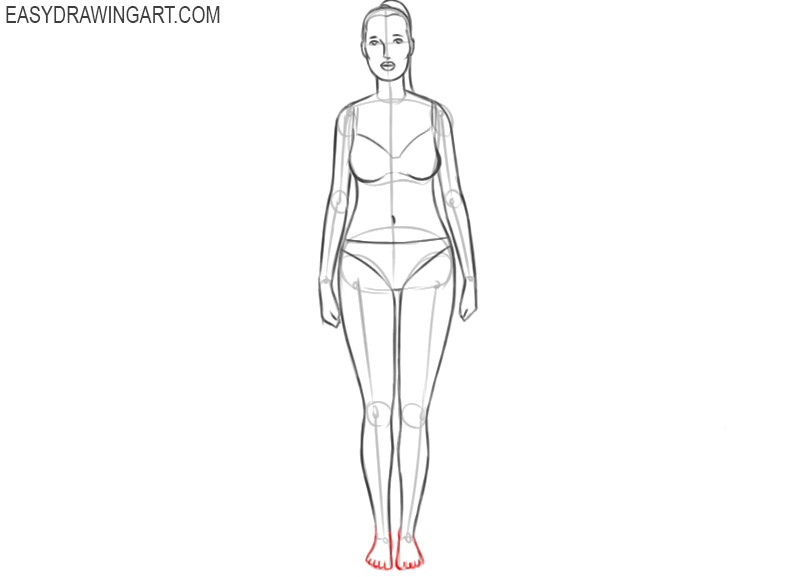 how to draw a female model body