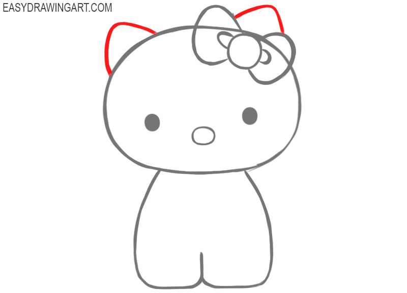 how to draw a hello kitty easy