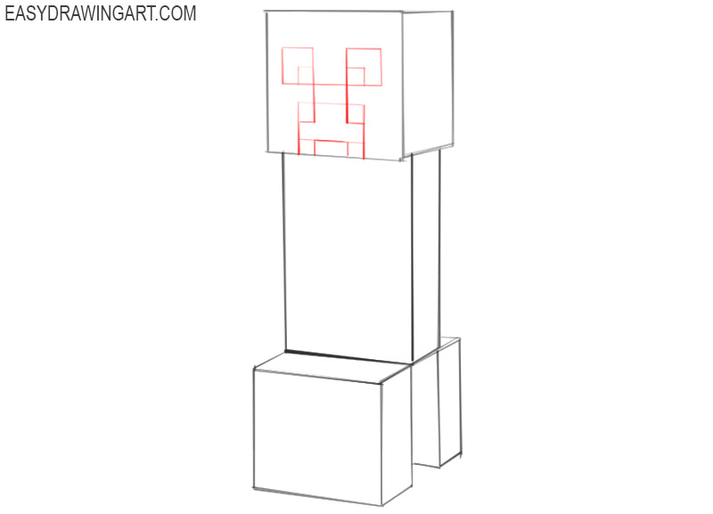how to draw a minecraft creeper face step by step