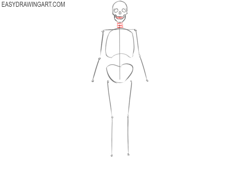 how to draw a skeleton body easy