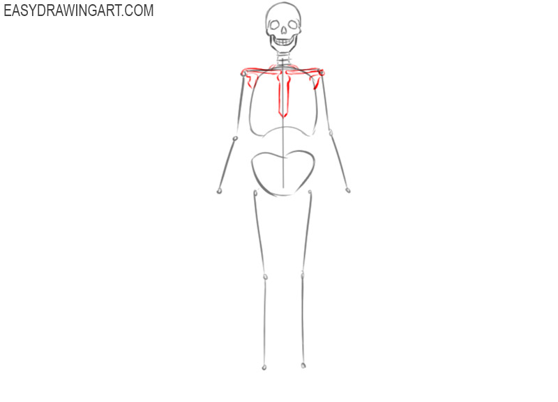 how to draw a skeleton cute