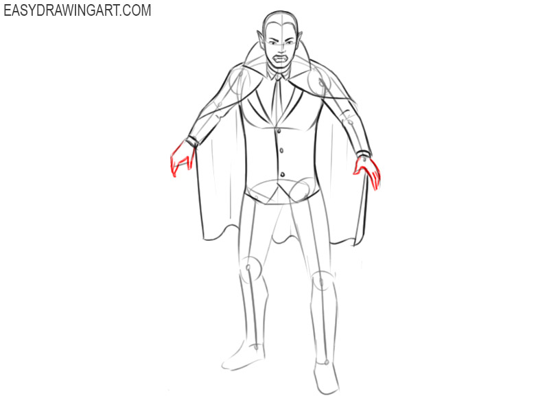 how to draw a vampire with steps