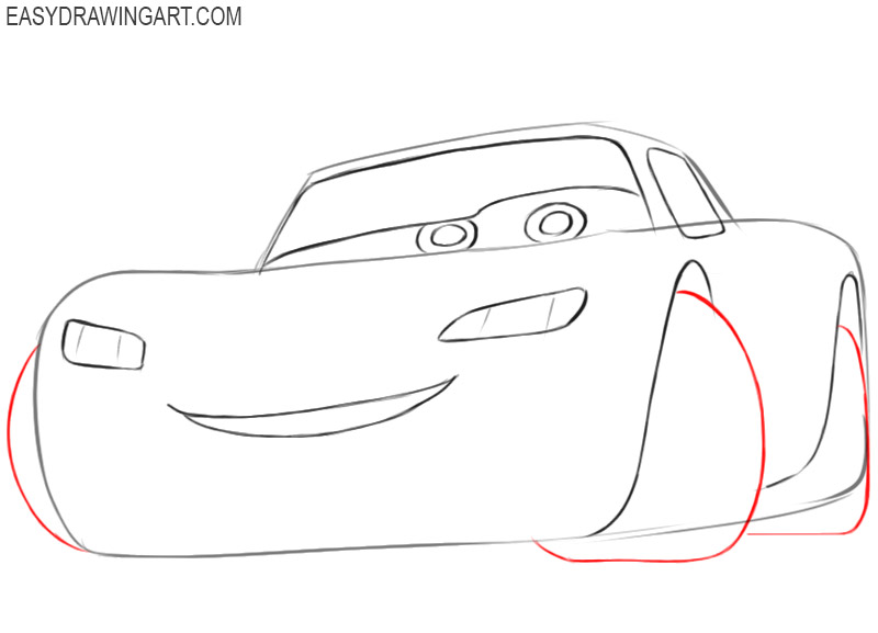 how to draw an easy lightning mcqueen